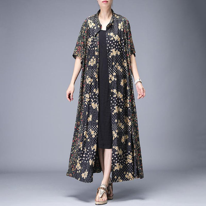 black Rural Floral Printed Elegant Casual  Italian dress boutique short sleeve Coat