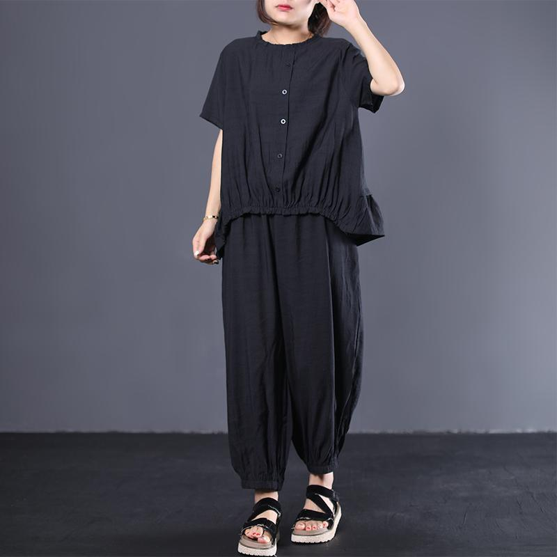 black blended casual short sleeve ruffles tops with elastic waist women pants