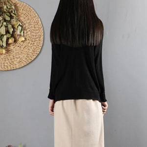 black box top oversized fall knitwear long sleeve