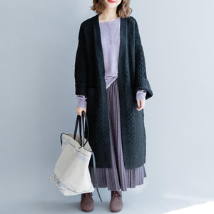 black long knit coat trendy knitted cardigans plus size v neck outwear 2018 pockets Coats