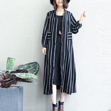 Load image into Gallery viewer, black striped linen dresses A linen maxi dress casual patchwork long shirt dress boutique casual cardigans