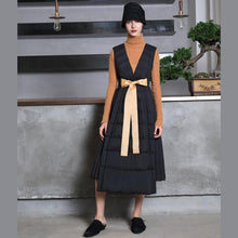 Load image into Gallery viewer, black warm winter dress casual tie waist winter dress sleeveless pullove dresses
