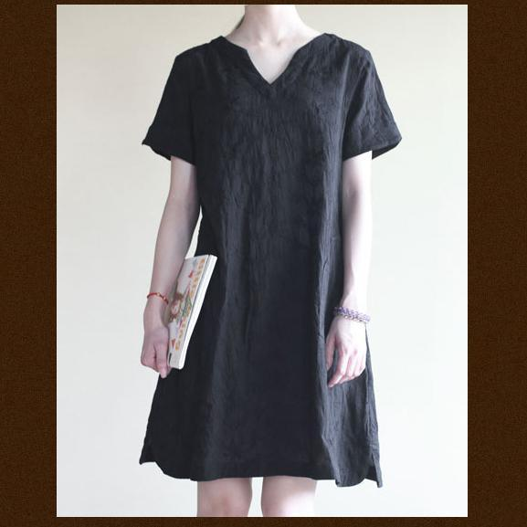 black Cotton summer dress oversize shift sundress