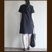 Load image into Gallery viewer, black Cotton summer dress oversize shift sundress