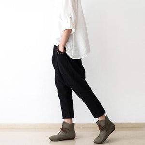 black New haram pants oversize casual linen trousers crop pants