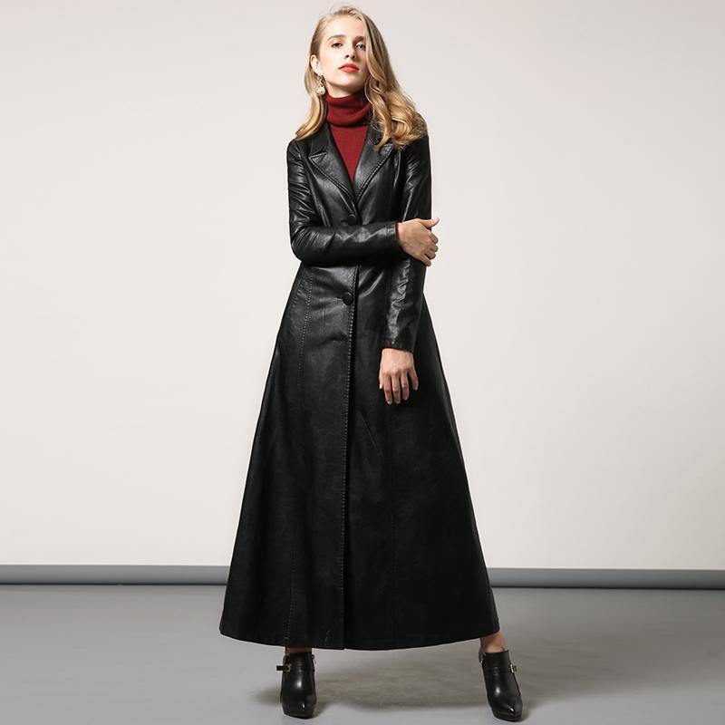 black PU long coat women slim fit stylish elegant lapel collar maxi trench coats