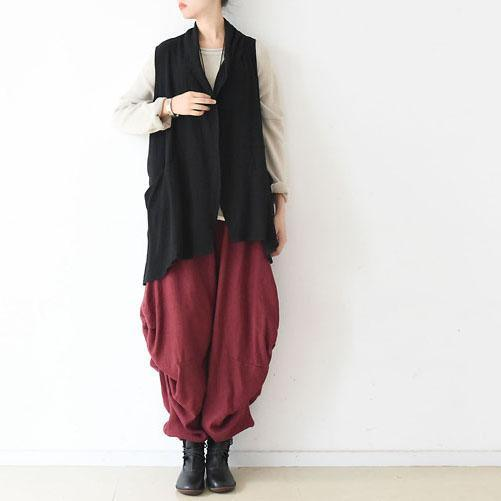 black asymmetric linen blouse draping back vest casual stylish tops jacket linen clothing