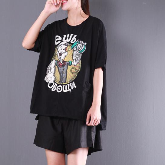 black cartoon print cotton tops plus size blouse short sleeve t shirt
