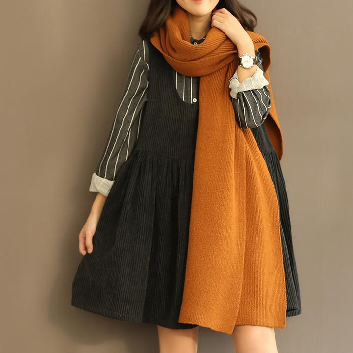 black casual Corduroy tank dress pullover sleeveless cotton dresses