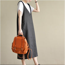 Load image into Gallery viewer, black casual linen dresses oversize stylish sundress sleeveless maxi dress