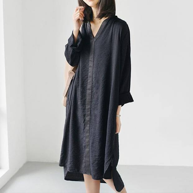 black causal flowy summer dress long sleeve shift dresses oversize clothing