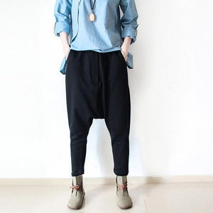 black cotton pants plus size loose pants harem pants