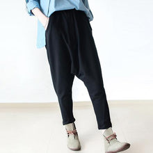 Laden Sie das Bild in den Galerie-Viewer, black cotton pants plus size loose pants harem pants