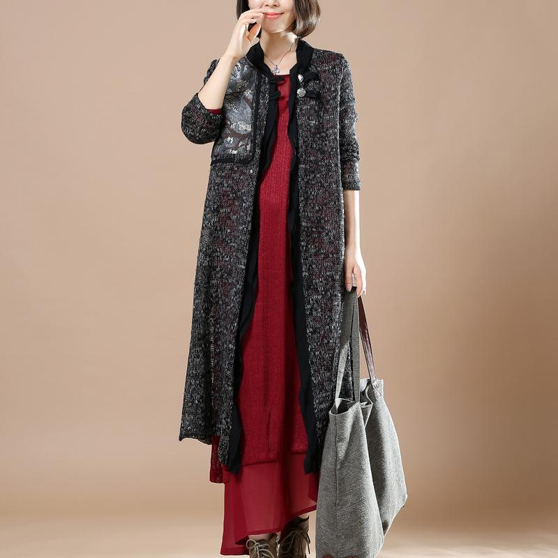 black flowy knit cardigans sweaters coats patchwork top quality