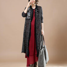 Laden Sie das Bild in den Galerie-Viewer, black flowy knit cardigans sweaters coats patchwork top quality