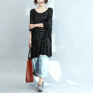 black gray striped casual summer dress cotton oversize stylish women dresses batwing sleeve shift dress