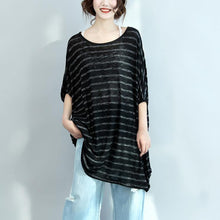 Load image into Gallery viewer, black gray striped casual summer dress cotton oversize stylish women dresses batwing sleeve shift dress