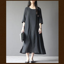 Load image into Gallery viewer, black half sleeve linen sundress oversize maxi dresses