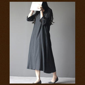 black half sleeve linen sundress oversize maxi dresses