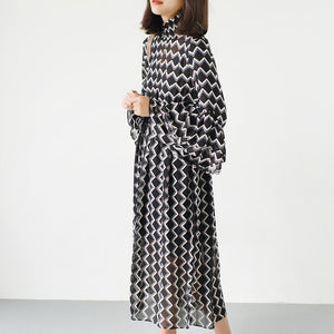 black high neck chiffon maxi dresses print fabric long sleeve beach dresses