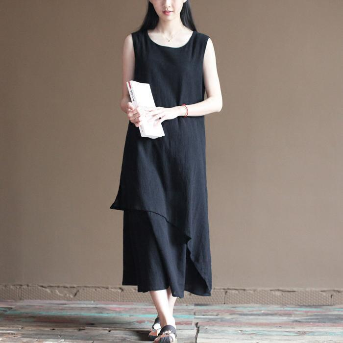 black layered linen dress summer long maxi dresses beach sundress sleeveless