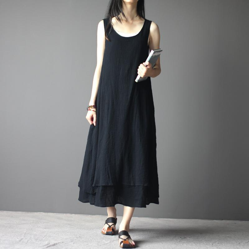 black linen maxi dress sleeveless summer dresses
