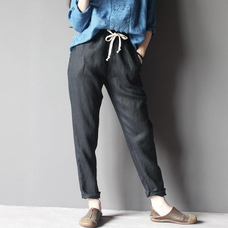 black linen pants women trousers