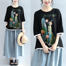 Laden Sie das Bild in den Galerie-Viewer, black patchwork prints cotton tops plus size casual  blouse bracelet sleeved t shirt