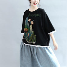 Load image into Gallery viewer, black patchwork prints cotton tops plus size casual  blouse bracelet sleeved t shirt