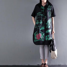 Load image into Gallery viewer, black plus size sundress linen causal summer dresses love and peace