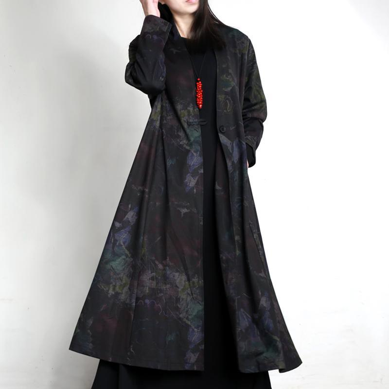 black prints cotton one breast winter coat oversize casual elegant long trench coats