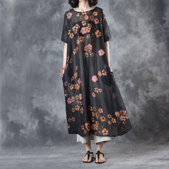 black prints summer silk linen dresses oversize stylish sundress short sleeve maxi dress