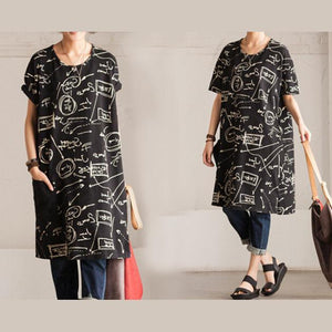 black secret print shift dress loose sundress