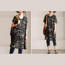 Load image into Gallery viewer, black secret print shift dress loose sundress