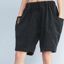 Load image into Gallery viewer, black striped casual cotton pants plus size  elastic waist shorts