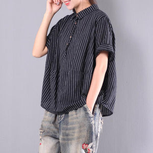black striped cotton casual blouse plus size short sleeve t shirt
