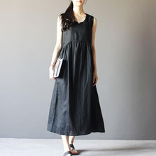 Load image into Gallery viewer, black summer dress linen sundress Retro maxi dresses