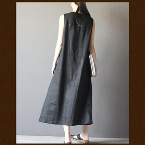 black summer dress linen sundress Retro maxi dresses