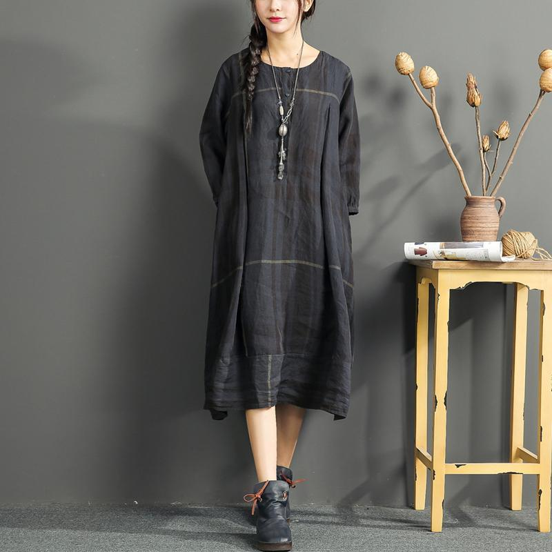black summer dresses plaid plus size linen dresses bracelet sleeved women dress