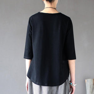 black top quality cotton blouse oversize casual stylish tops