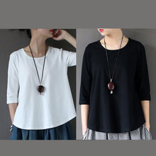 Load image into Gallery viewer, black top quality cotton blouse oversize casual stylish tops