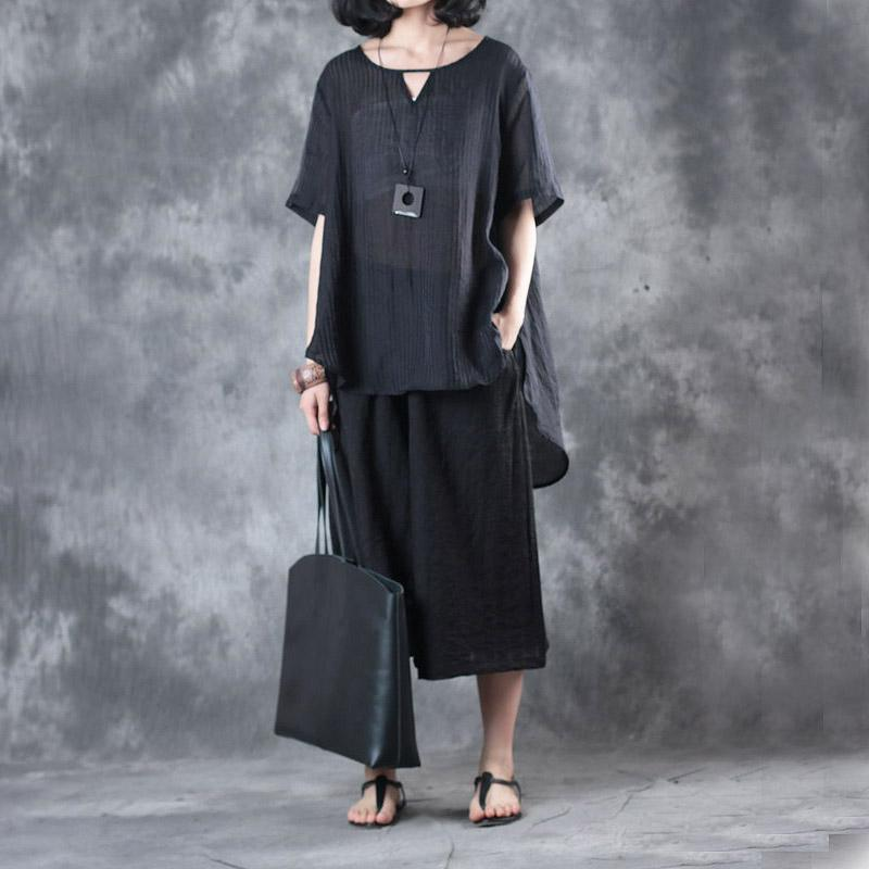 black vingage silk linen two pieces casual loose tops and crop wide leg pants