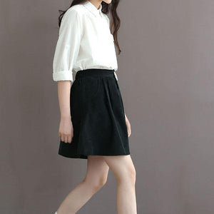 black vintage corduroy skirt casual top quality short skirts