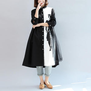 black white patchwork cotton outwear plus size brief long sleeve cardigans