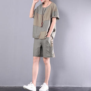 blackish green linen patchwork casual two pieces oversize short sleeve tops and shorts