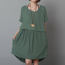 Load image into Gallery viewer, blackish green oversize sundress plus size shift dress handmade
