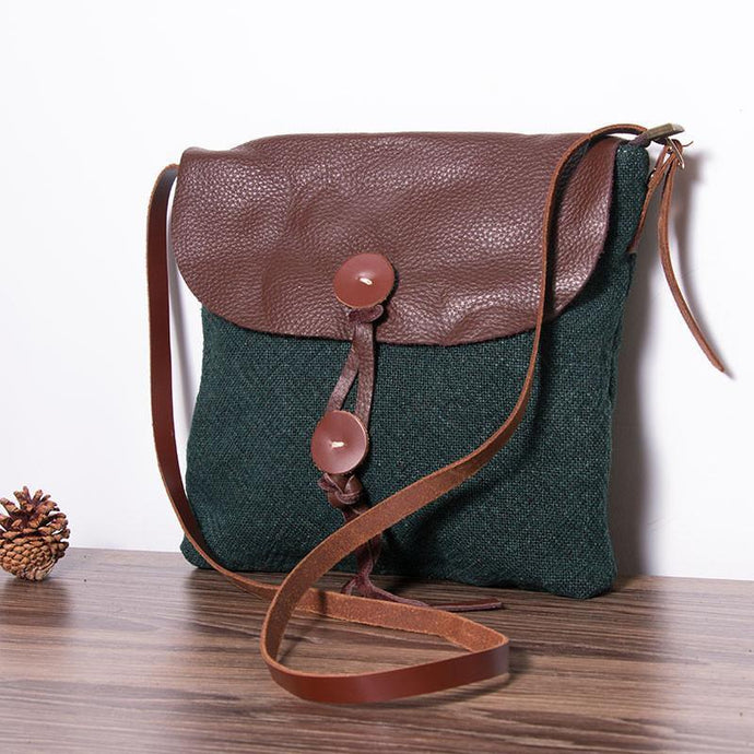 blackish green patchwork canvas leather women handbags