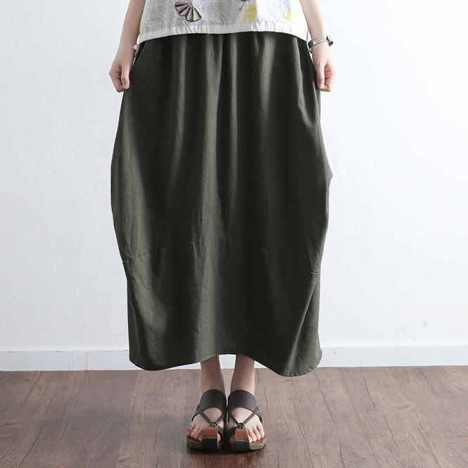 blackish green plus size casual summer skirts vintage maxi skirts