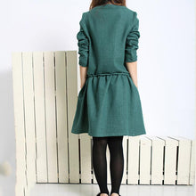 Load image into Gallery viewer, blackish green spring dress oversize long sleeve dress