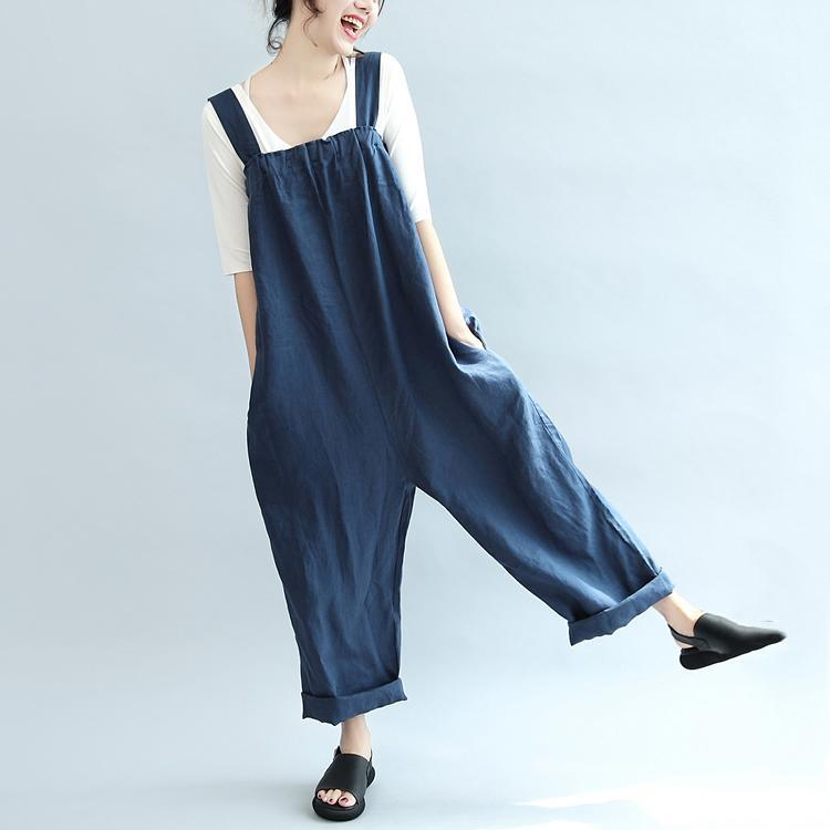 blue casual linen pants plus size stylish jumpsuit pants